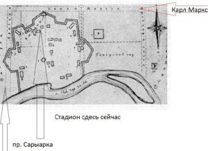 План Акмолинского укрепления на сетке Целинограда современных улиц целинограда